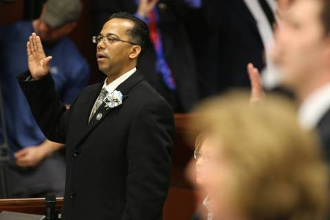 Steven Brooks, D-North Las Vegas, takes the oath of office during the opening day of the 77th L ...