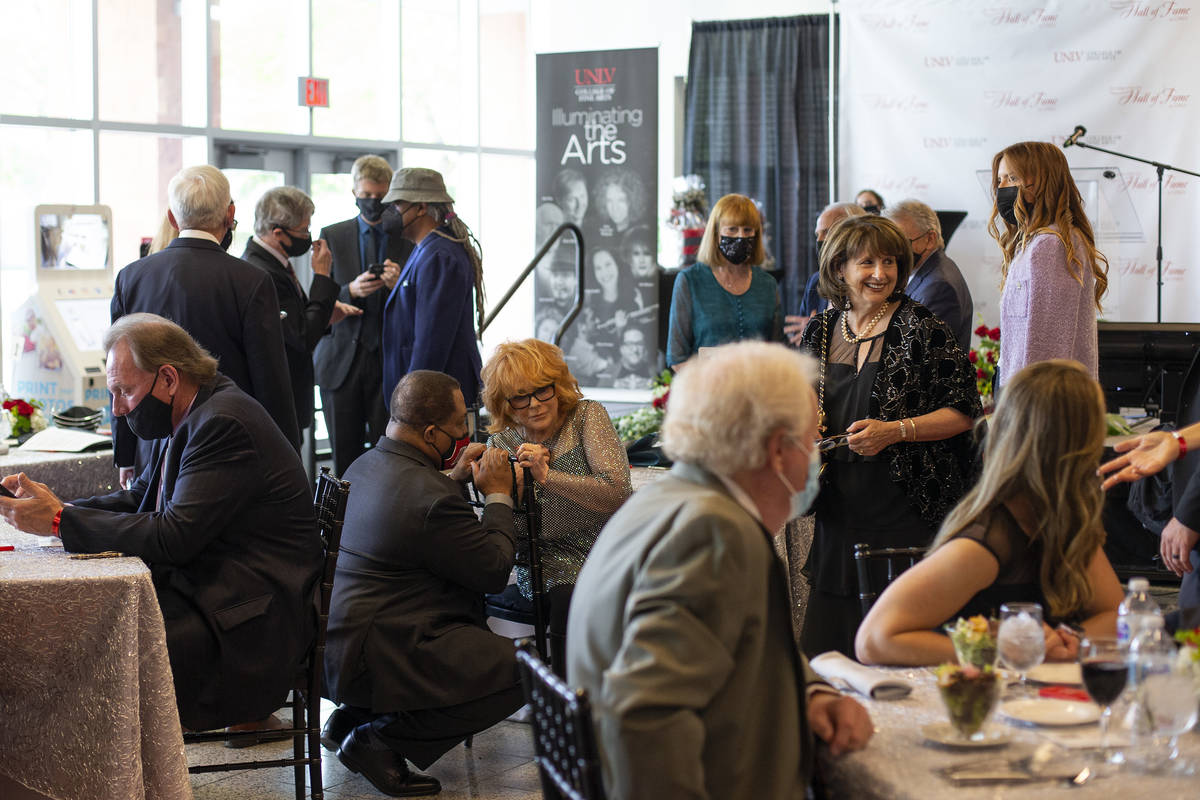 Attendees mingle before the 17th Annual College of Fine Arts Hall of Fame gala at the UNLV Stud ...