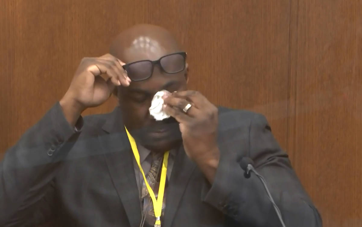 In this image from video, Philonise Floyd, brother of George Floyd, becomes emotional as he tes ...