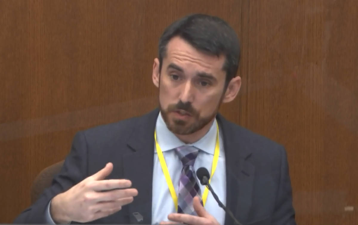 In this image from video, Seth Stoughton, testifies as Hennepin County Judge PeterCahill ...