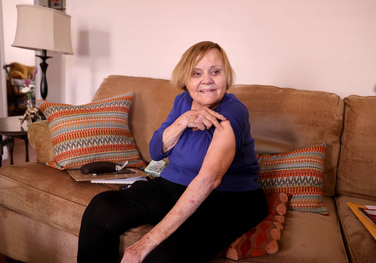 Darlene Blose, 77, talks to a reporter at her Las Vegas home Tuesday, April 13, 2021. Blose rec ...