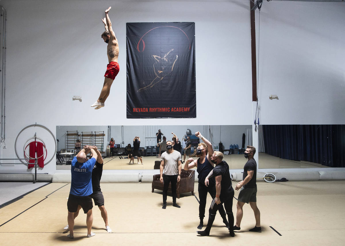 """Performers rehearse for """"Ignite"""" at Nevada Rhythmic Academy on Thursday, April 15, 2021, in Las ..."""