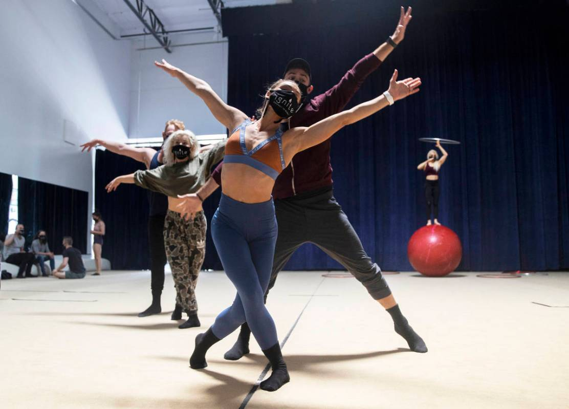 """Image dancers Marina Pegado, foreground, and Taylor Bradley rehearse for """"Ignite"""" at Nevada Rhy ..."""