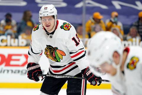 Chicago Blackhawks center Mattias Janmark (13) plays against the Nashville Predators in the fir ...