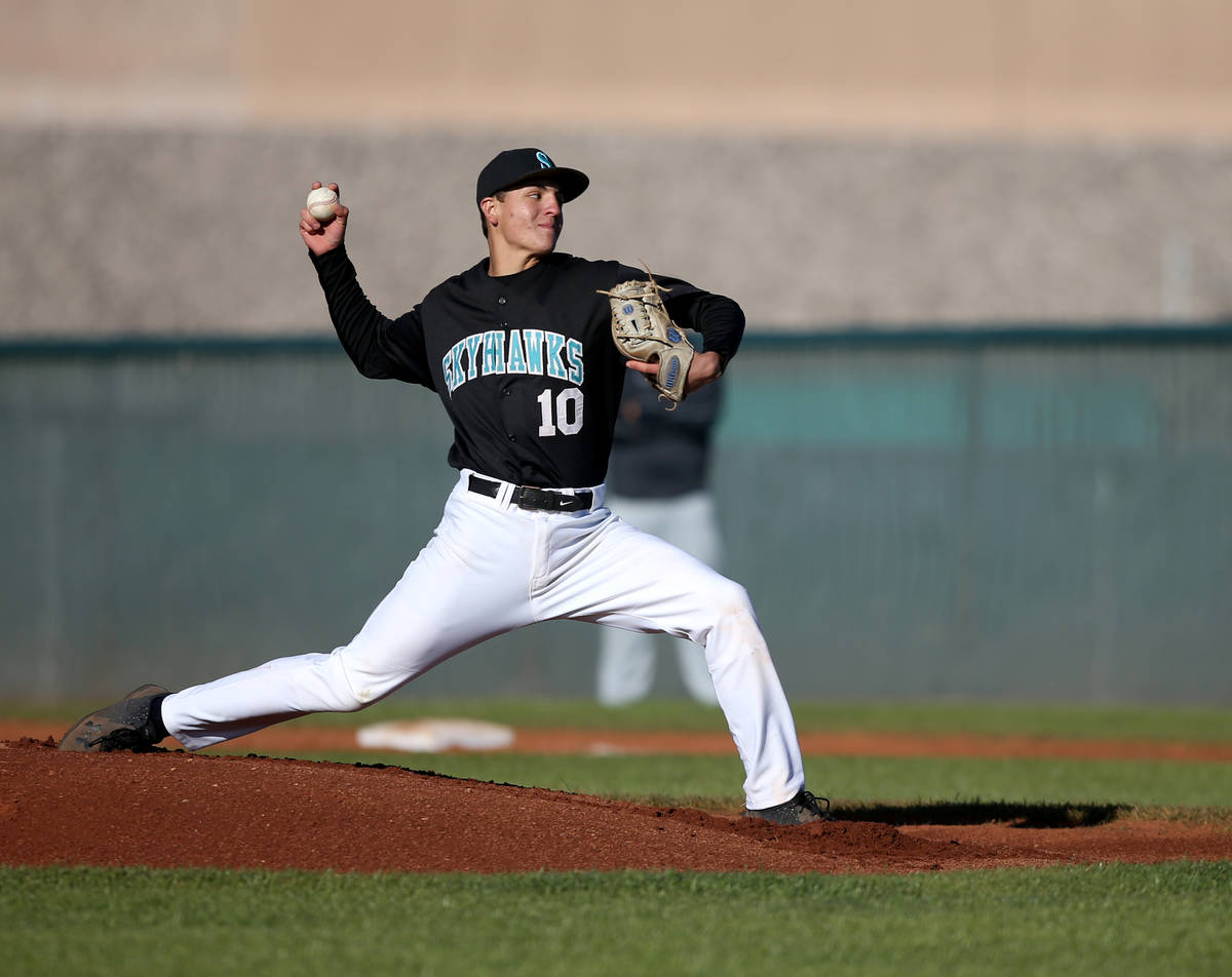 Silverado pitcher Chris Cortez (10) throws against Faith Lutheran during a baseball game at Sil ...