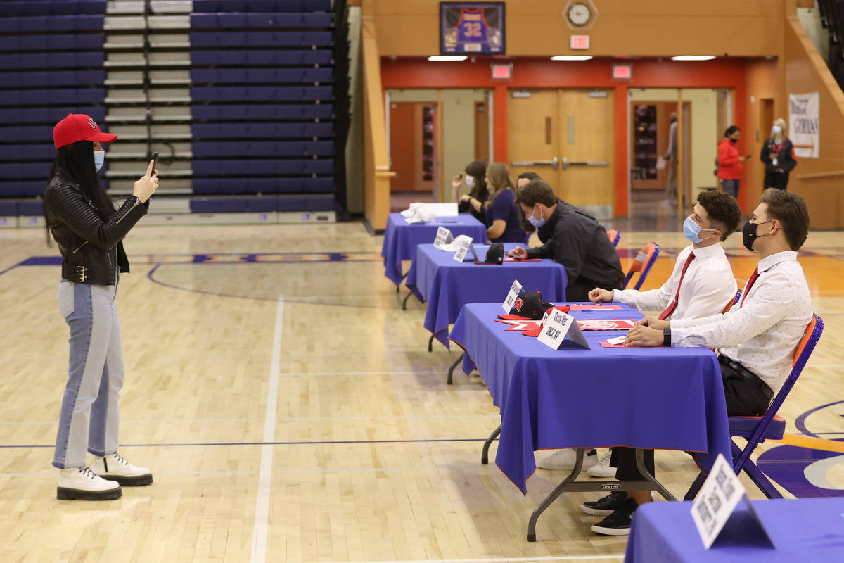 Santino Panaro, left, and Gavin Mez, are photographed during a Signing Day ceremony at Bishop G ...