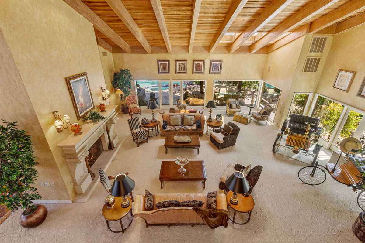 The family room as seen from the upstairs master balcony. (Fraser Almeida/Luxury Homes Photography)