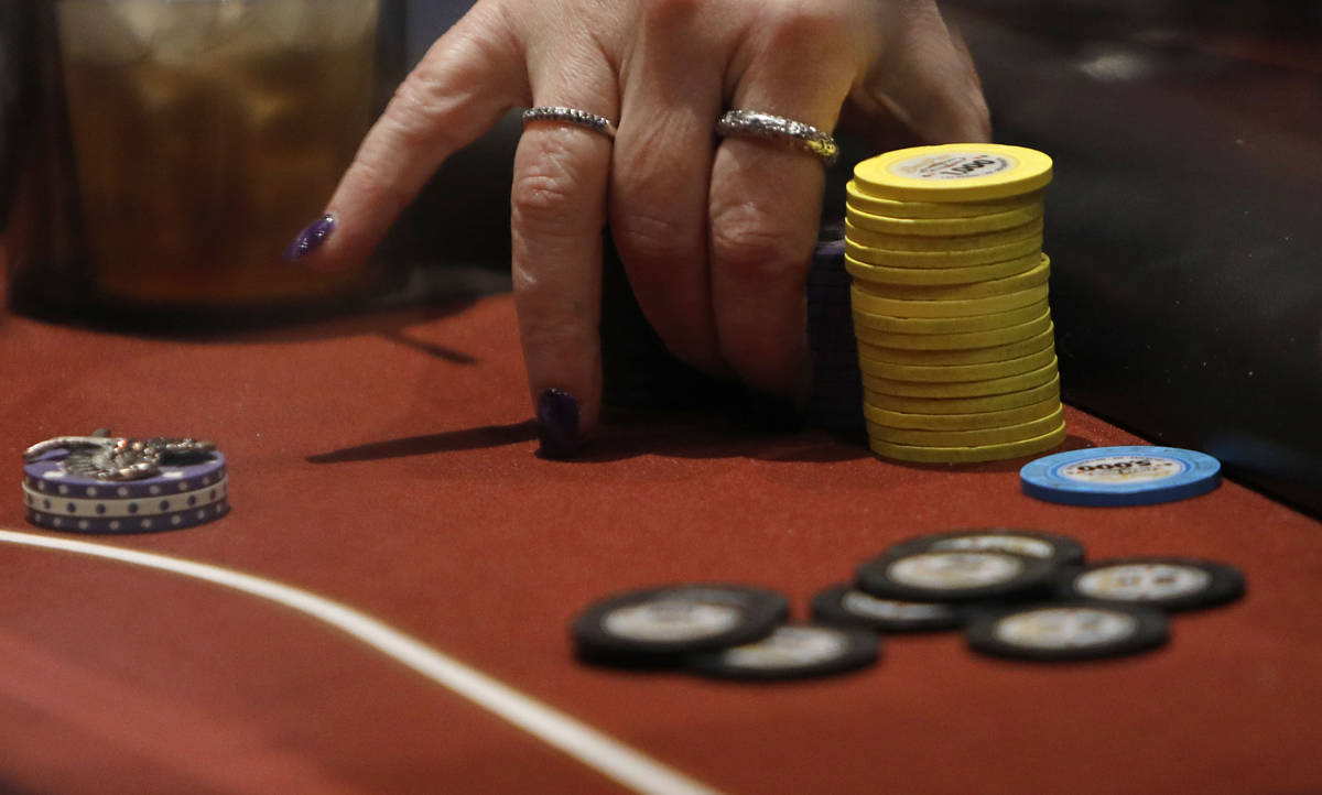 Sharon Liss of in Clearwater, Fla. plays in $175 No-Limit Hold'em Ladies tournament during 2021 ...