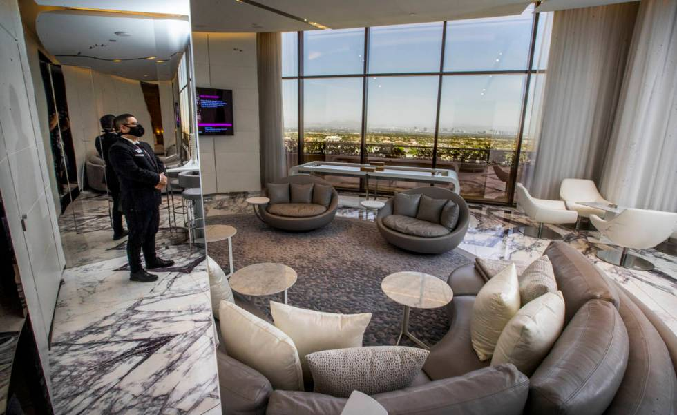 Butler Blair Troncoso in one of the suites at Red Rock Resort, which offer views of the Strip. ...
