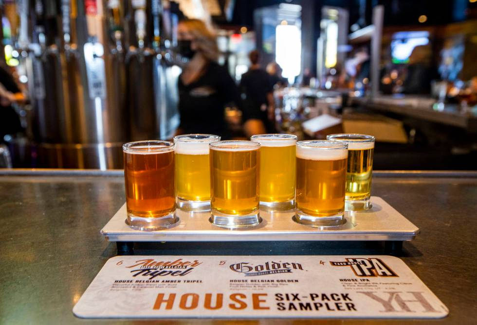A House Six-Pack Sampler is a popular option at Yard House. (L.E. Baskow/Las Vegas Review-Journ ...