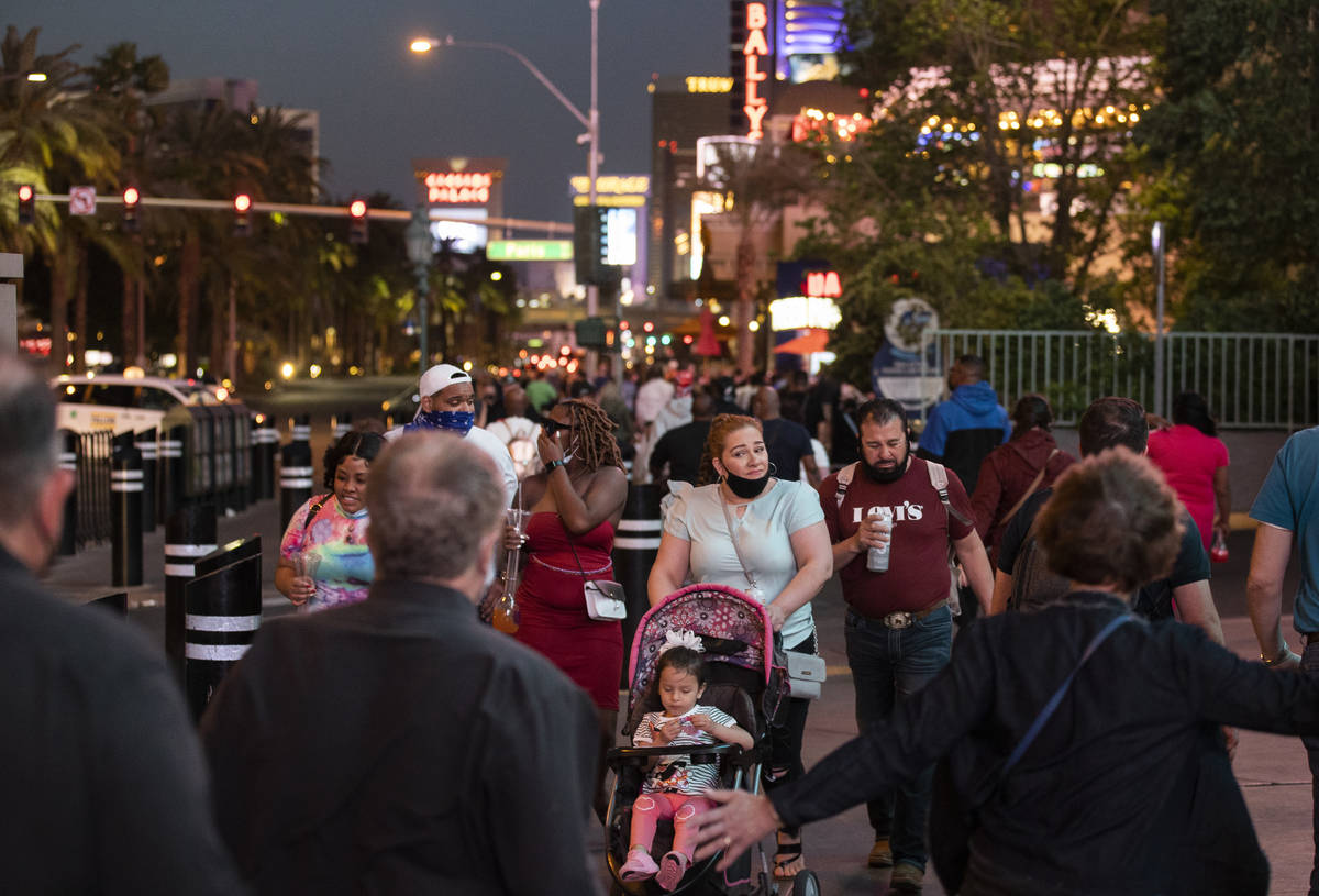 The Strip is packed on Tuesday, April 13, 2021, in Las Vegas. (Benjamin Hager/Las Vegas Review- ...