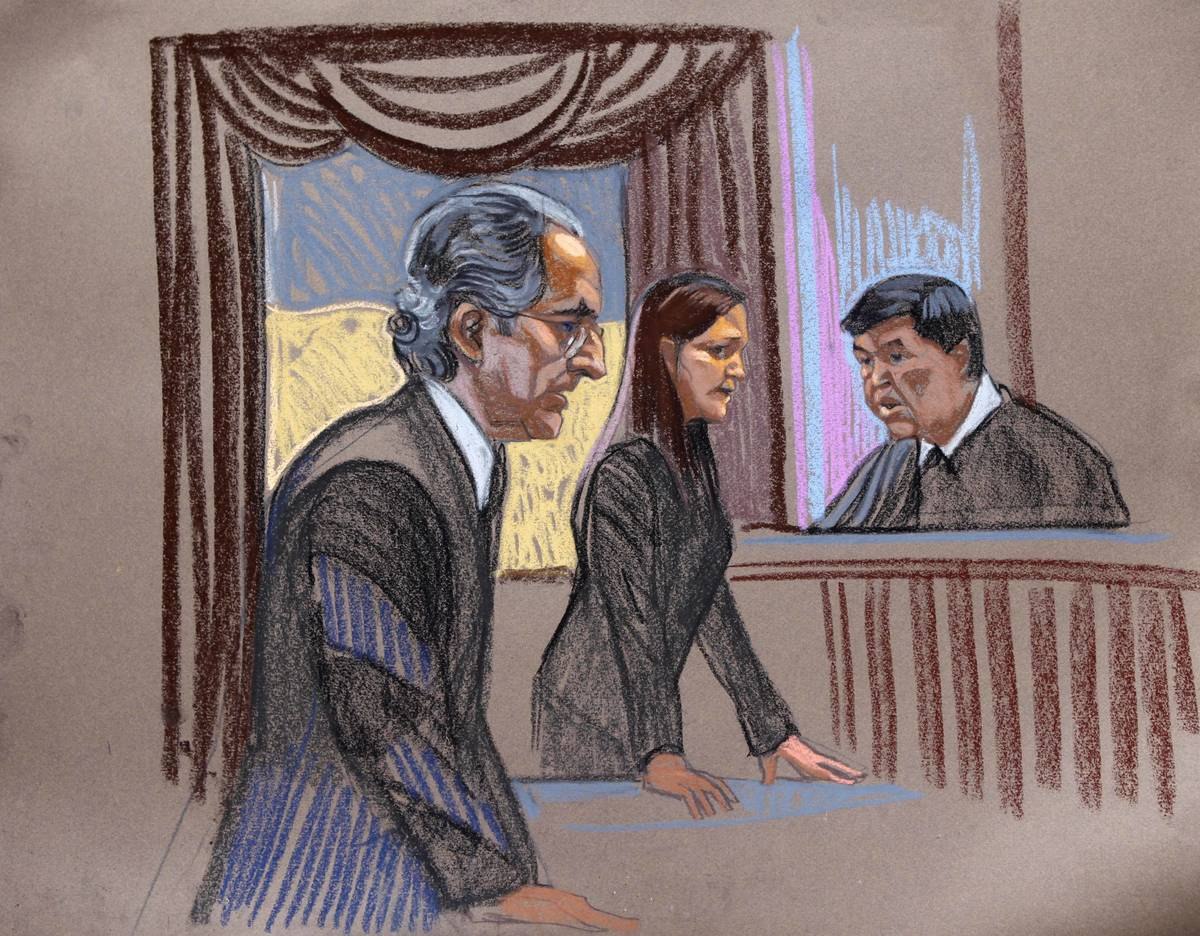In this courtroom sketch, Bernard Madoff, left, is seen with prosecutor Lisa Baroni and judge D ...