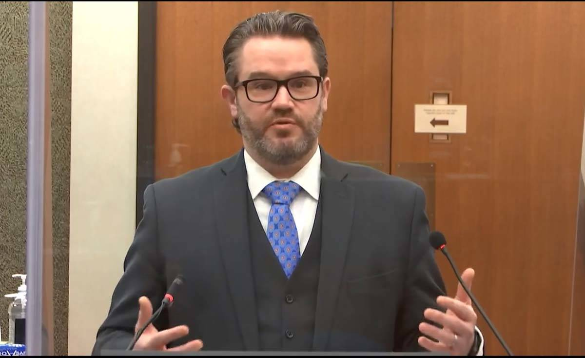 In this image from video, defense attorney Eric Nelson speaks as Hennepin County Judge Peter&#x ...