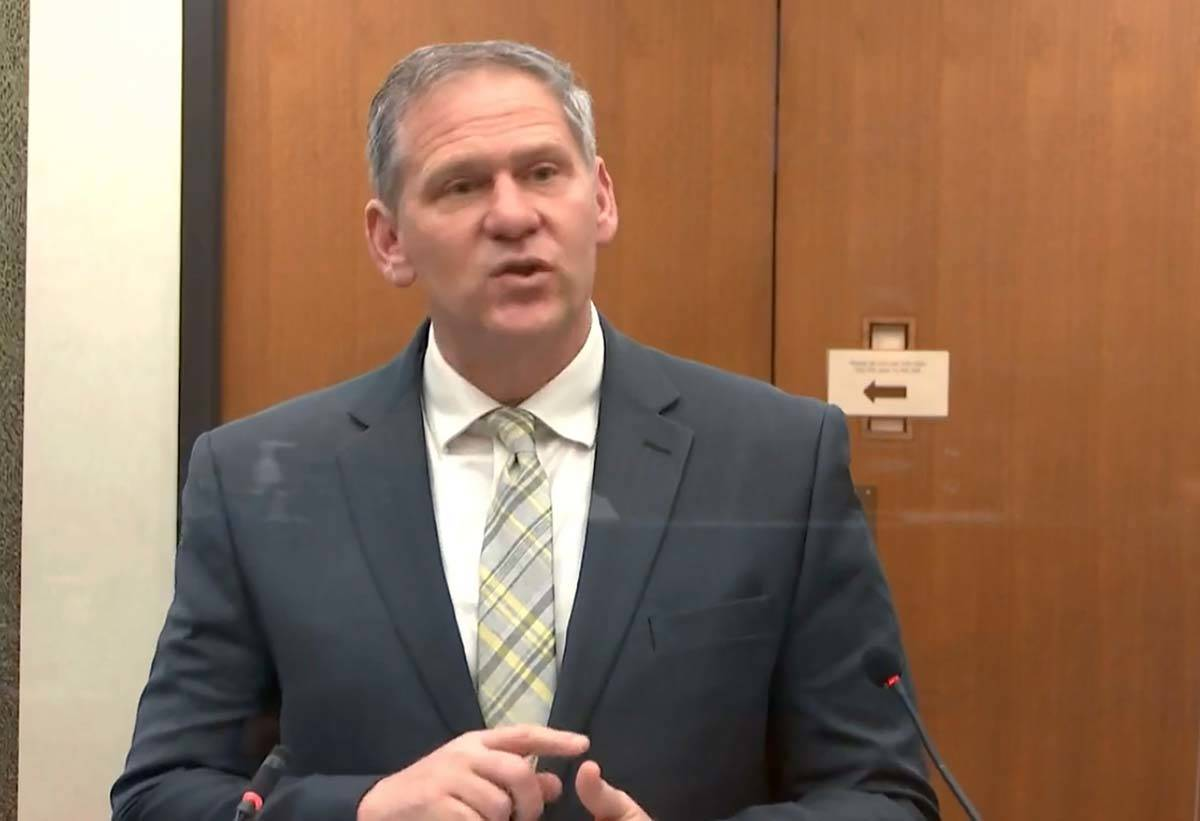 In this image from video, prosecutor Steve Schleicher speaks as Hennepin County Judge Peter&#xa ...