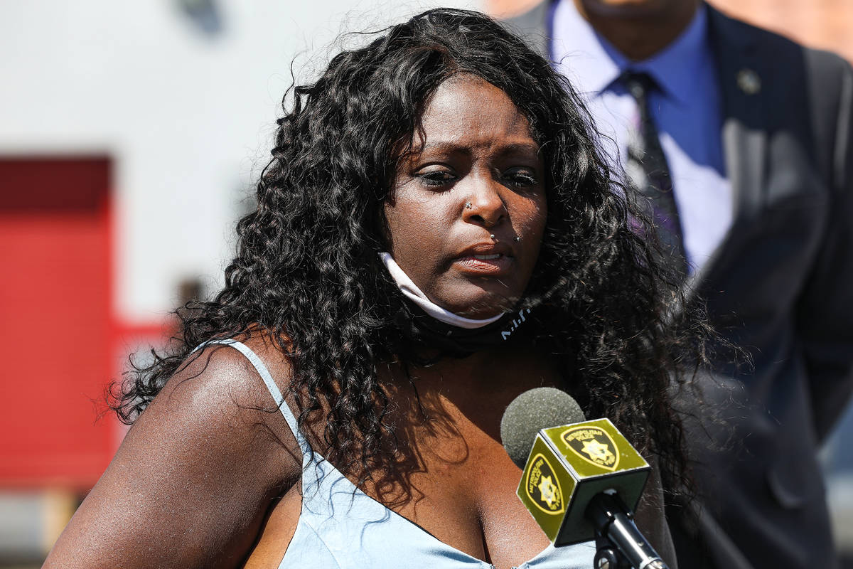Maria Levi, mother of Kashif Brown, cries during a press conference with the Metropolitan Polic ...