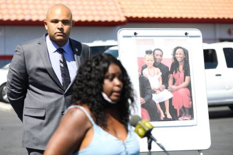 Maria Levi, mother of Kashif Brown, addresses the media in front of a photo of her son Kashif B ...