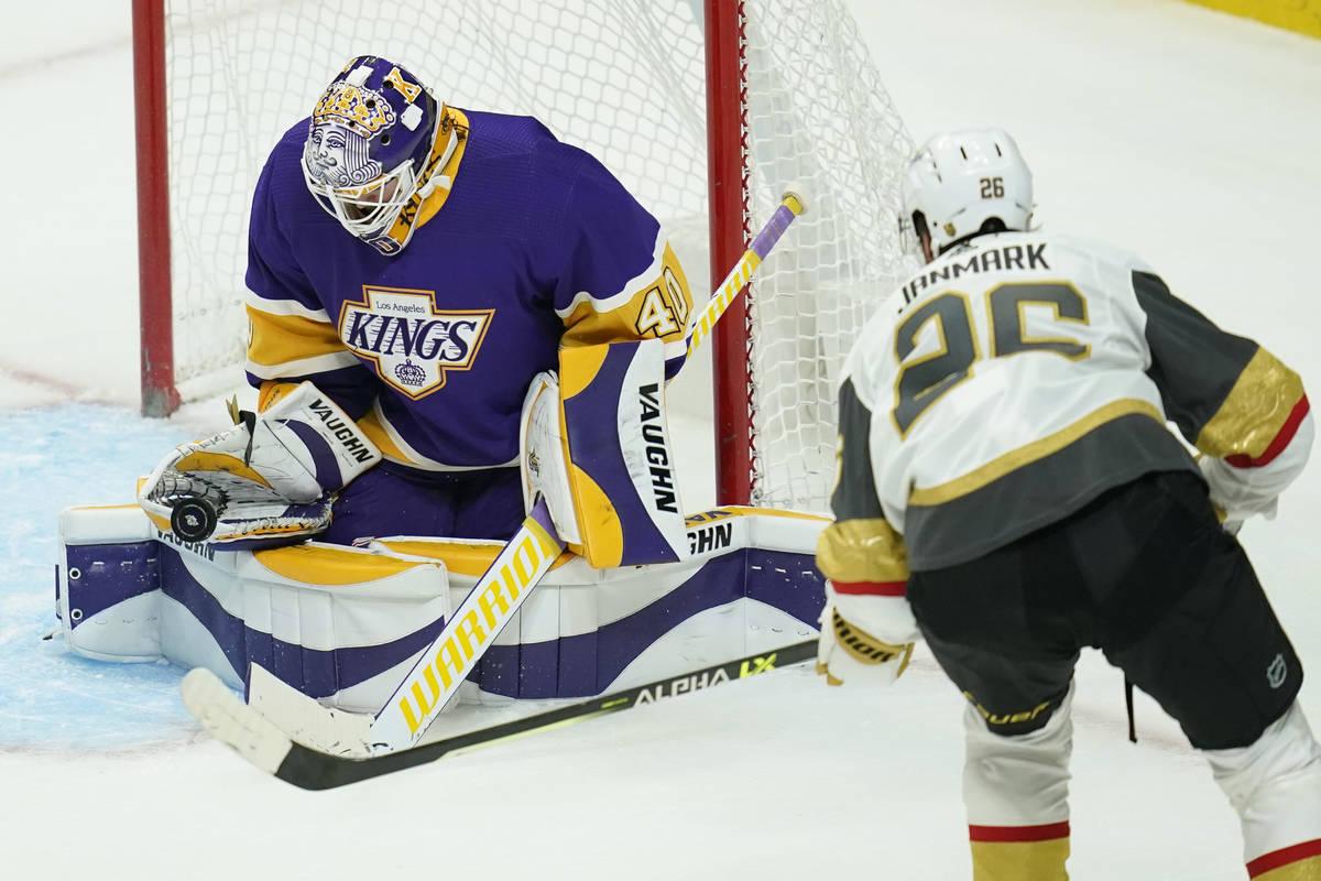 Los Angeles Kings goaltender Calvin Petersen (40) blocks a shot from Vegas Golden Knights cente ...