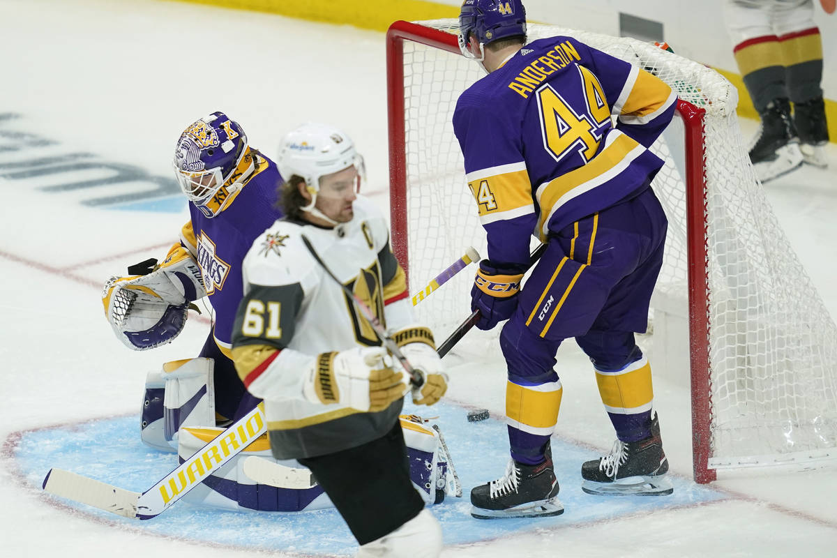 Vegas Golden Knights right wing Mark Stone (61) scores a goal against Los Angeles Kings goalten ...