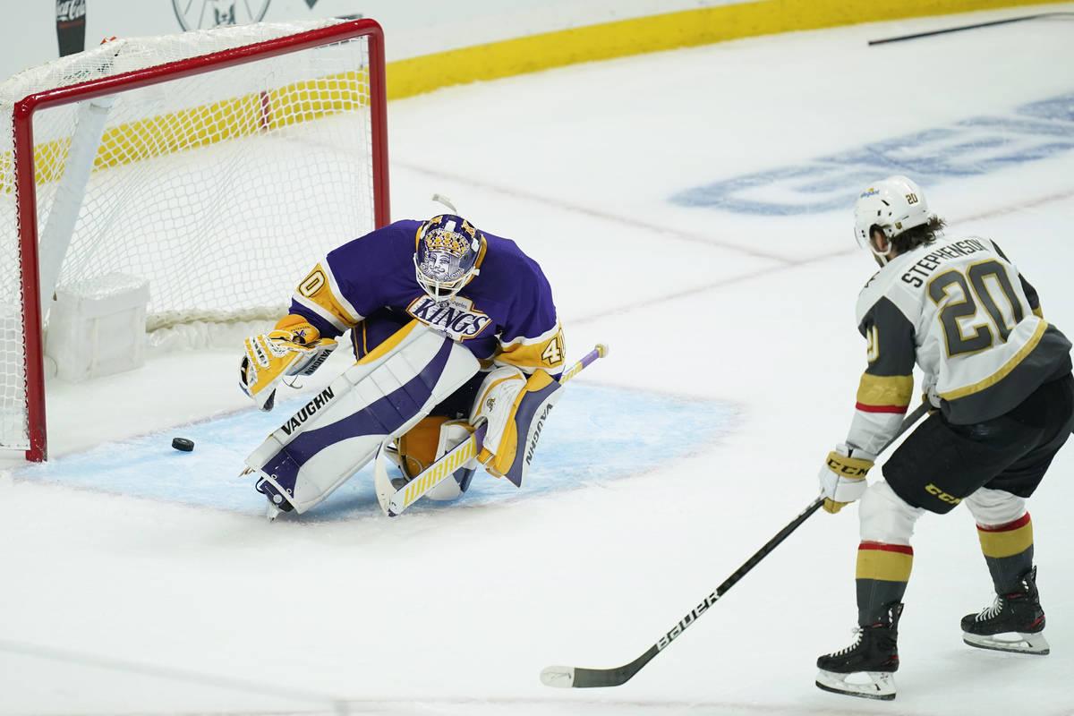 Vegas Golden Knights center Chandler Stephenson (20) scores a goal against Los Angeles Kings go ...
