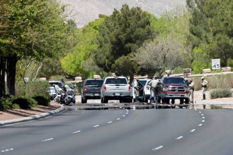Police investigate a fatal car crash on the 8800 block of West Lake Mead Boulevard near North S ...