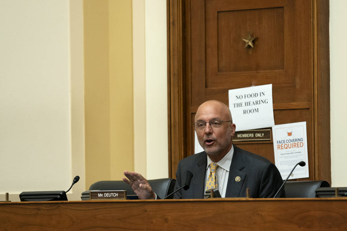 Rep. Ted Deutch, D-Fla., speaks during a House Committee on Foreign Affairs hearing looking int ...