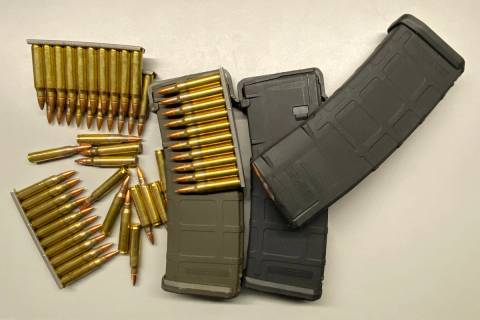 Clips loaded with NATO .556 ammo and three 30 round magazines. (Michael Quine/Las Vegas Review- ...