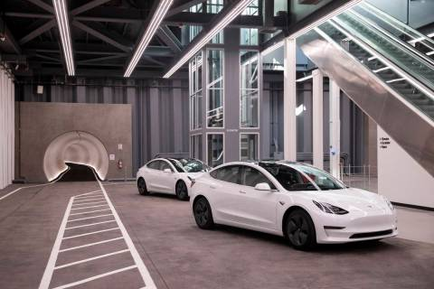 Central Station of the Boring Company's Convention Center Loop is seen during a media to ...