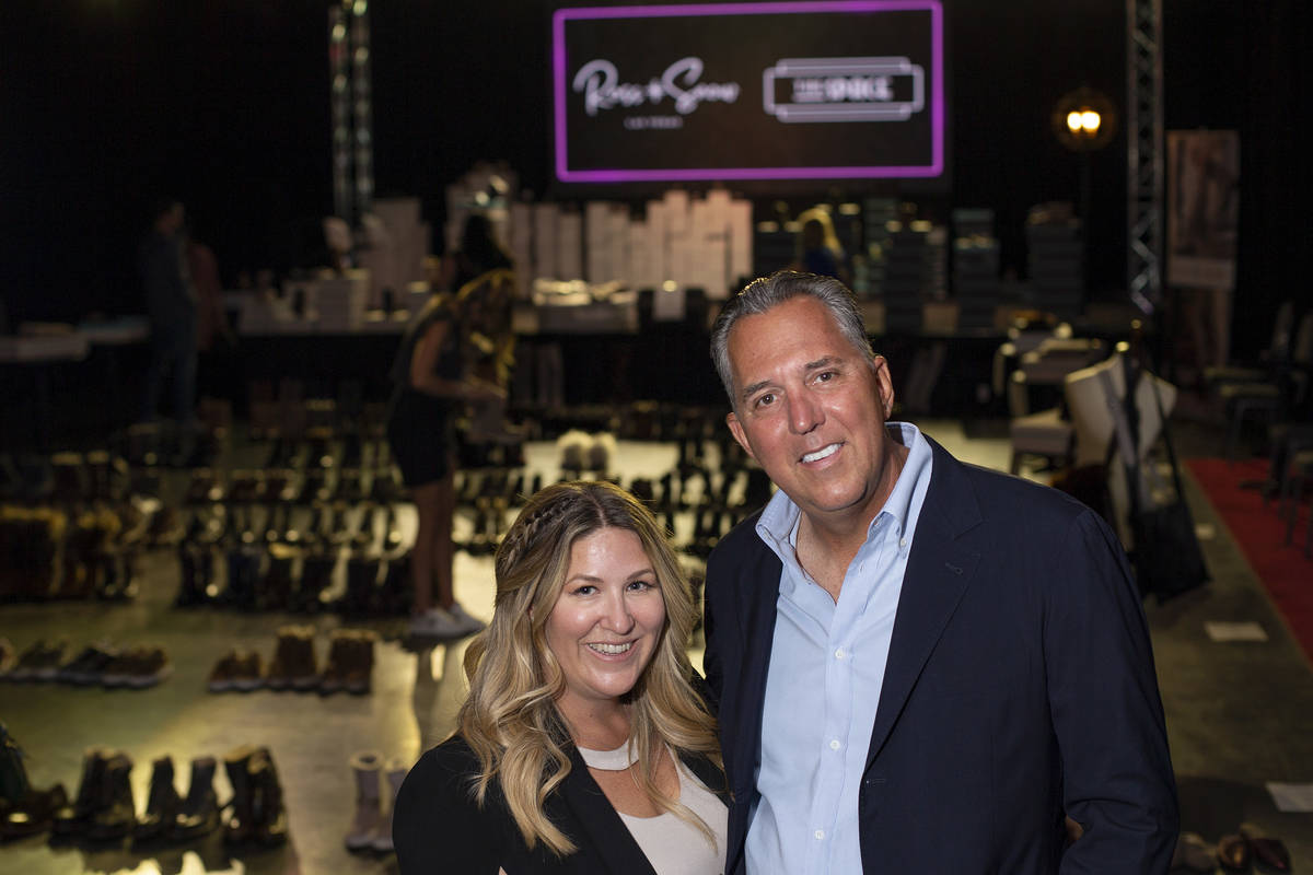 Meghan Mossler and Fred Mossler, co-founders of Vegas-based footwear brand Ross & Snow, at ...