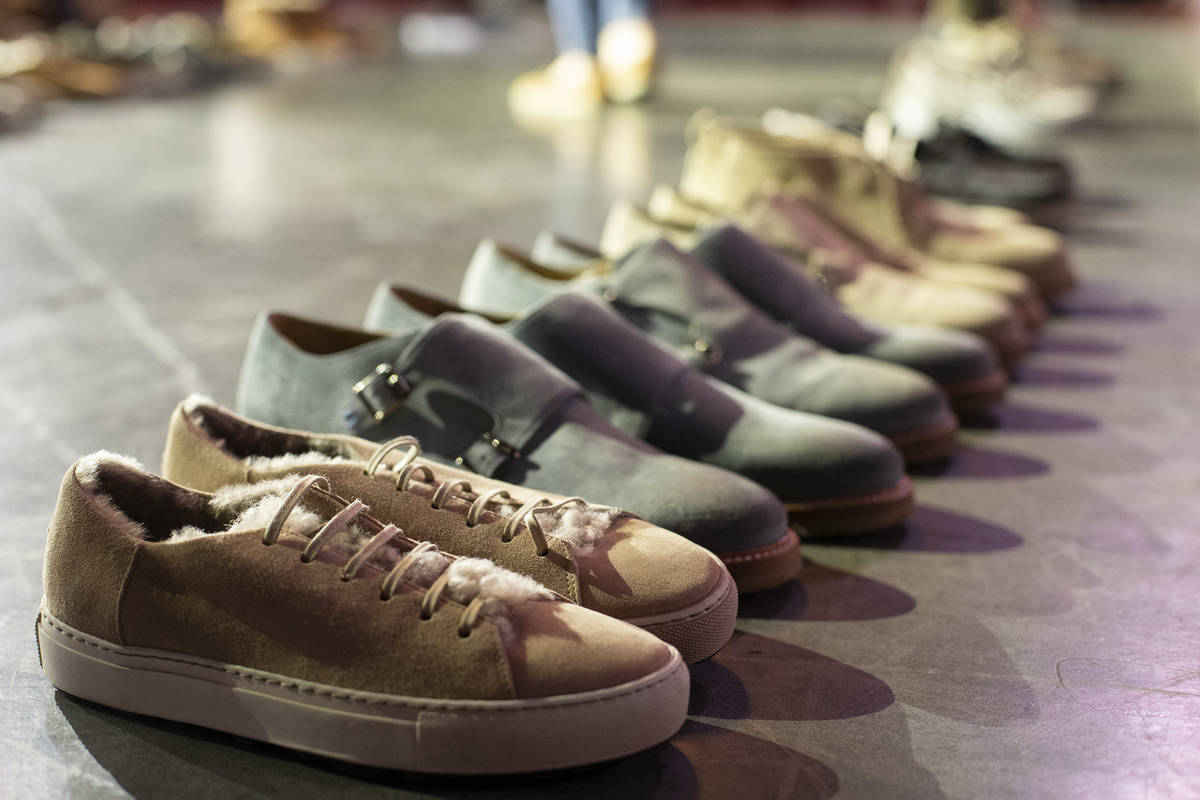 Shoes are displayed at Vegas-based footwear brand Ross & Snow's pop-up sale at The Space on ...