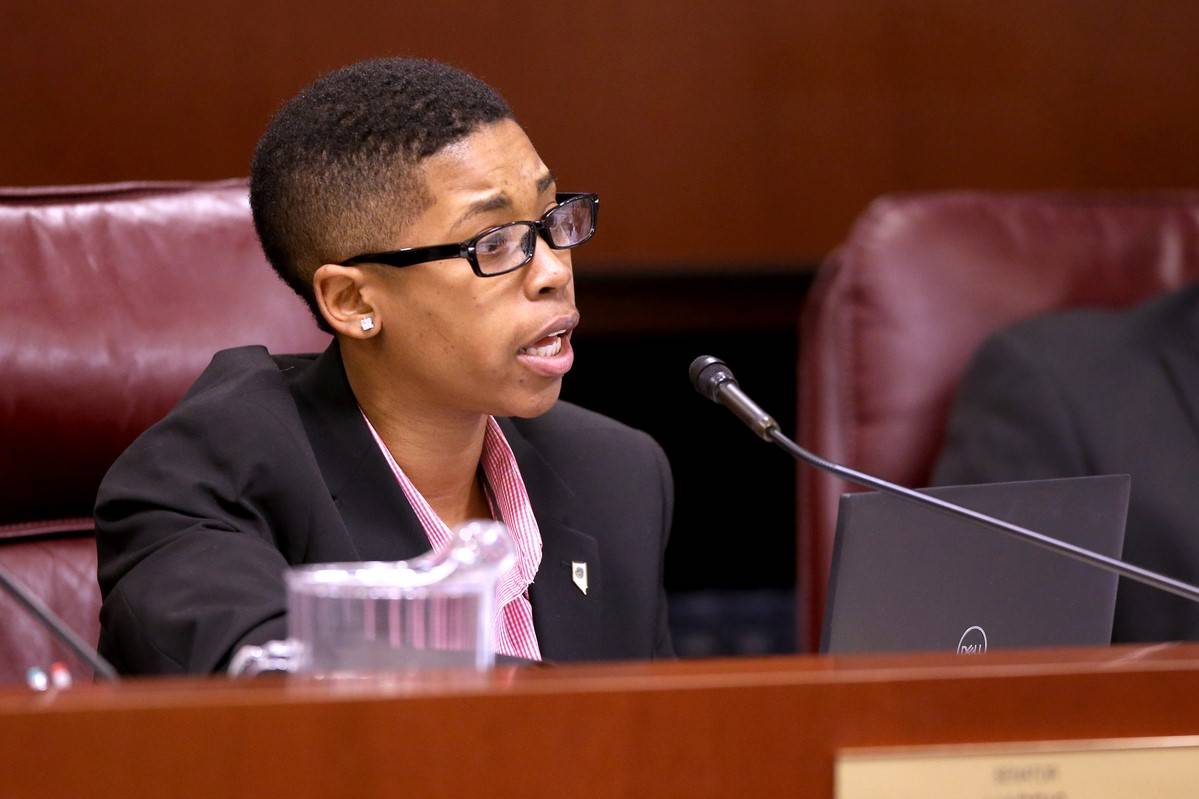 Sen. Dallas Harris, D-Las Vegas, asks a question during a Judiciary Committee meeting in the Le ...