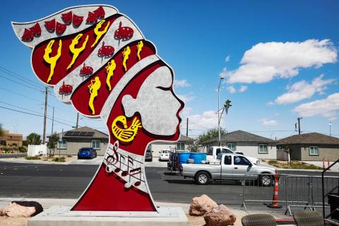"One of the ""Queen of Arts"" sculptures outside the West Las Vegas Arts Center in Las Vegas Thurs ..."