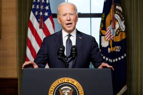 President Joe Biden speaks from the Treaty Room in the White House on Wednesday, April 14, 2021 ...