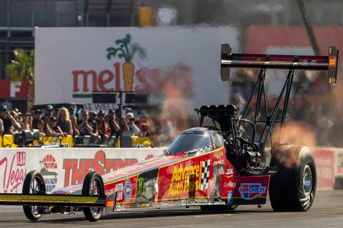 Top Fuel racer Brittany Force leads during the second round of the Dodge NHRA Nationals at the ...