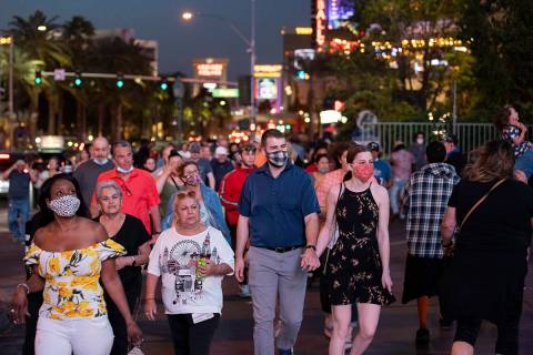 The Las Vegas Strip is packed on Tuesday, April 13, 2021, in Las Vegas. (Benjamin Hager/Las Veg ...