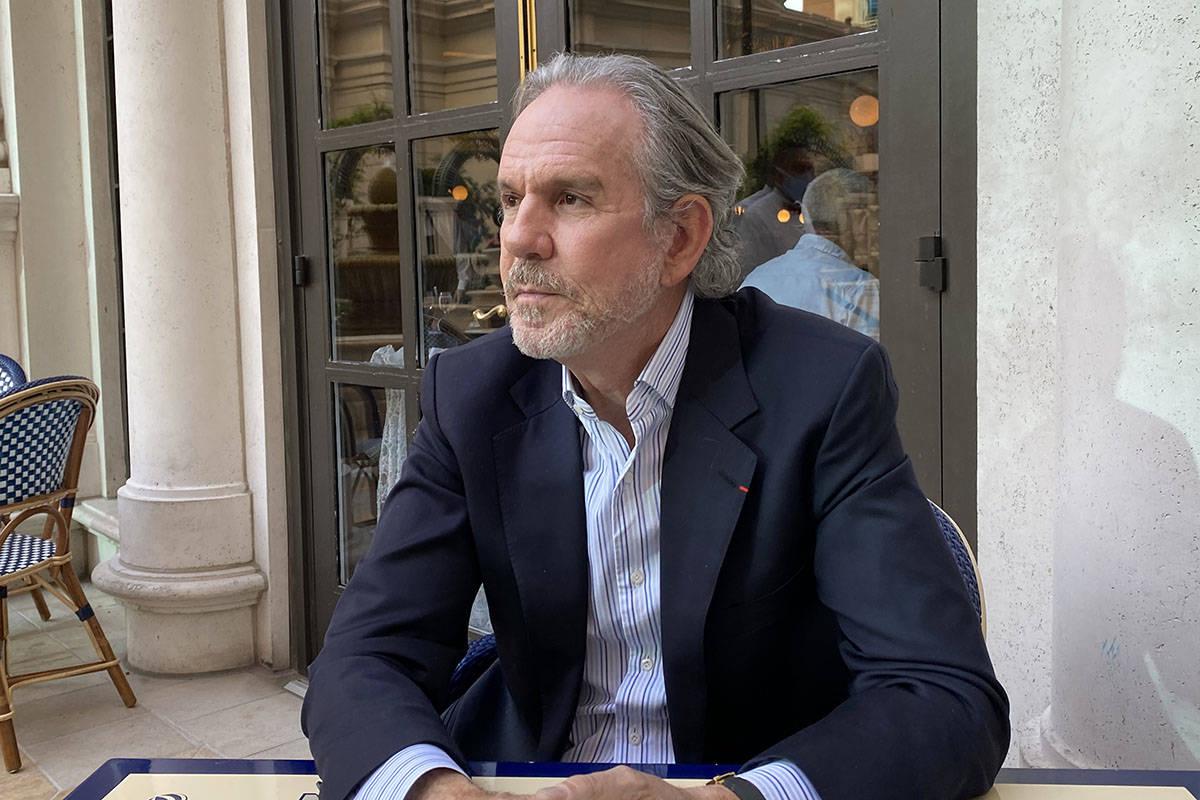 Chef Thomas Keller on the patio at Bouchon at The Venetian on April 9, 2021. (Al Mancini/Las Ve ...