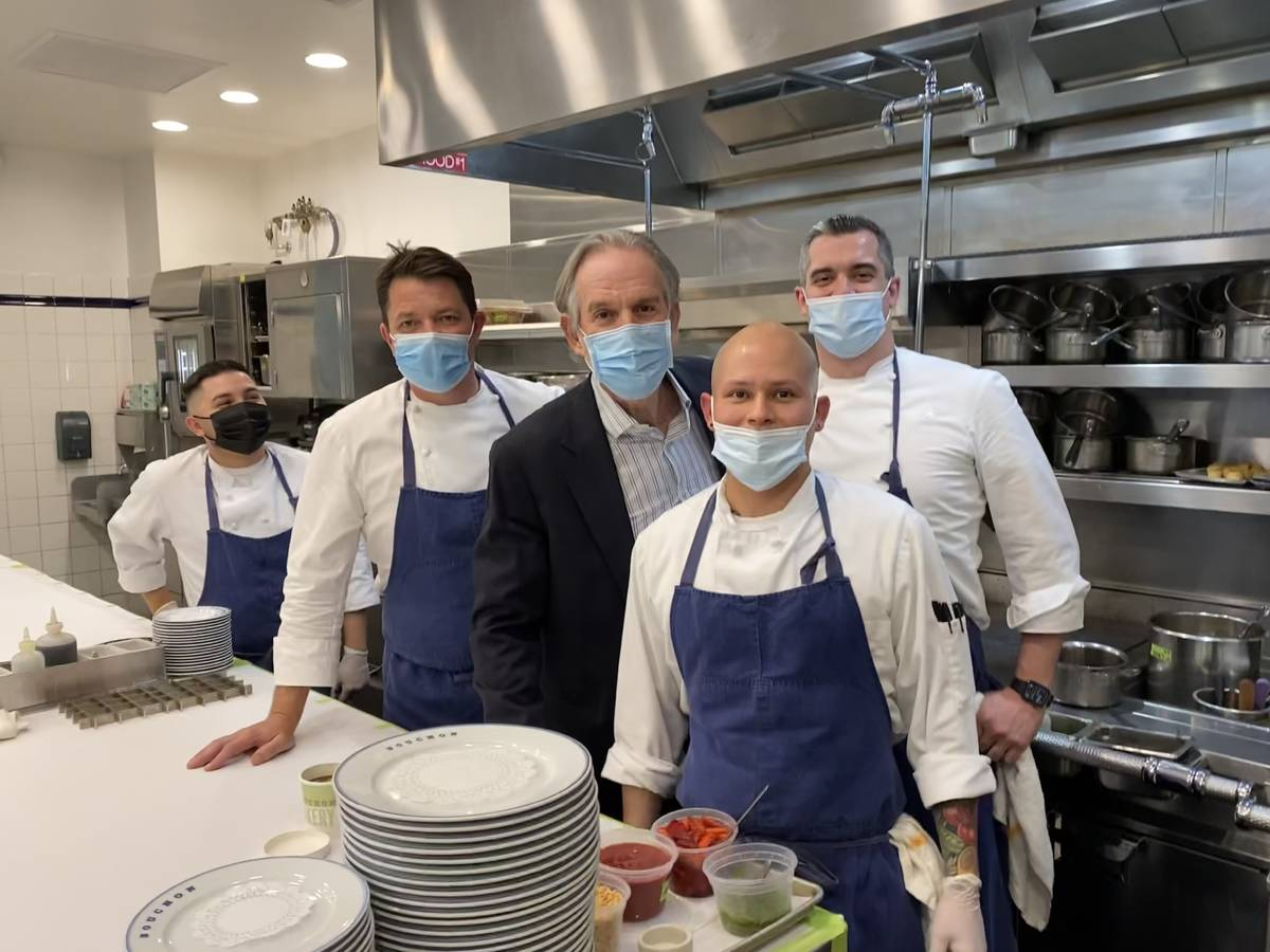 Thomas Keller, center, checks in with his team in the kitchen at Bouchon at The Venetian on Apr ...