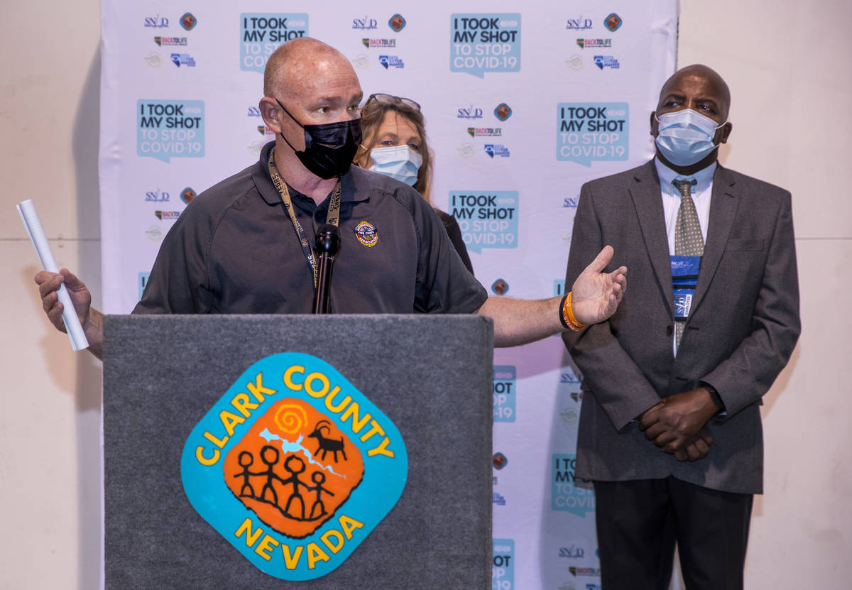 (From left) Chief Greg Cassell, Commissioner Marilyn Kirkpatrick and Dr. Fermin Leguen brief th ...
