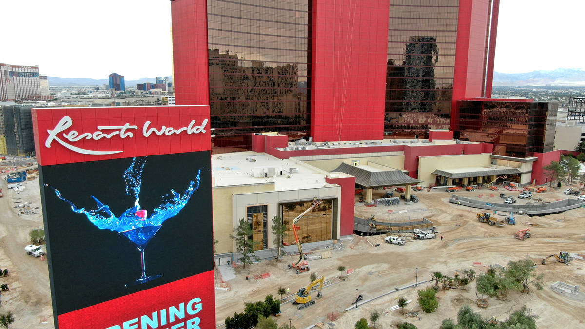 An aerial view of the north entrance of Resorts World Las Vegas on Thursday, March 11, 2021. (M ...