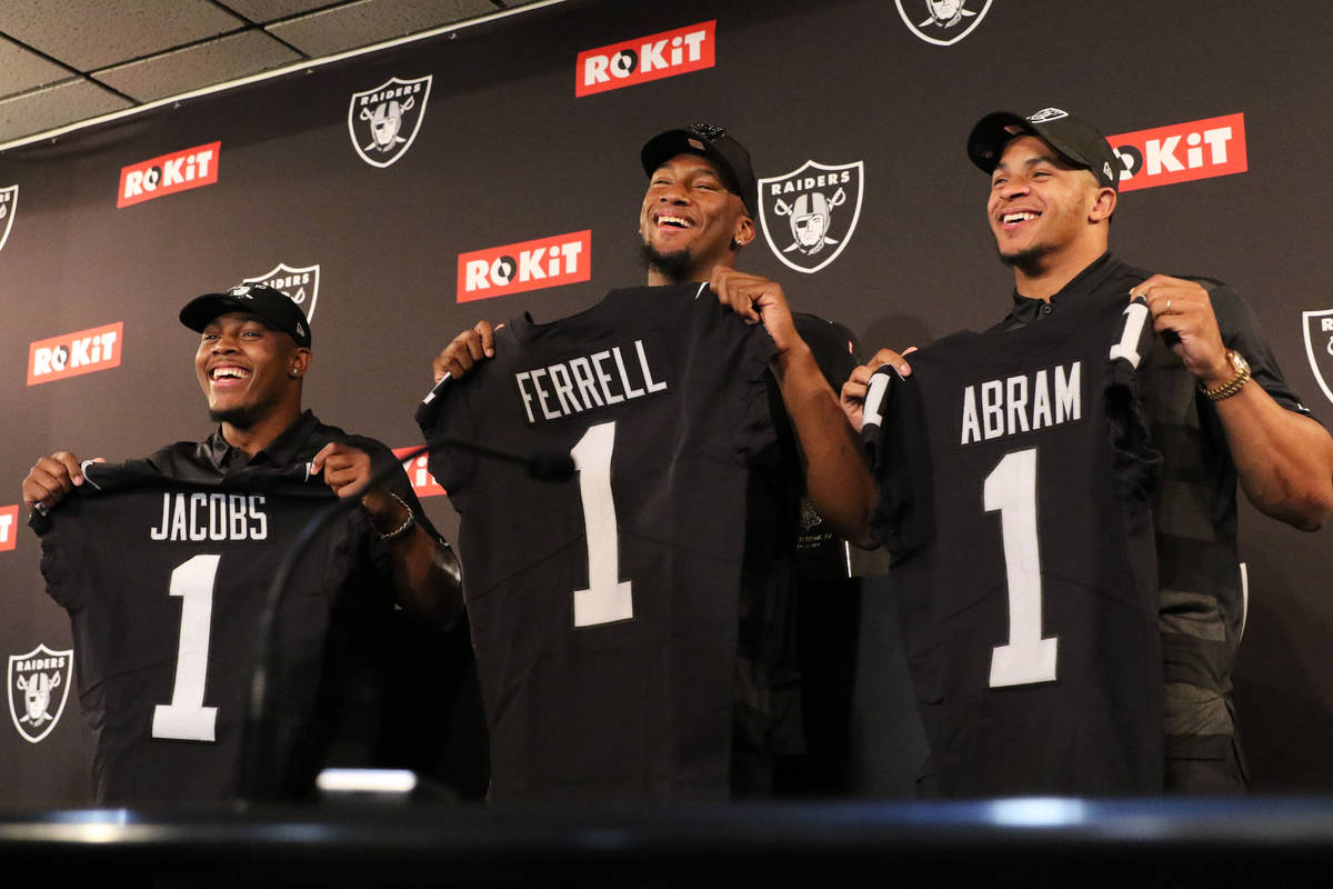 The Oakland Raiders first-round picks from the 2019 NFL Draft: running back Josh Jacobs, left, ...