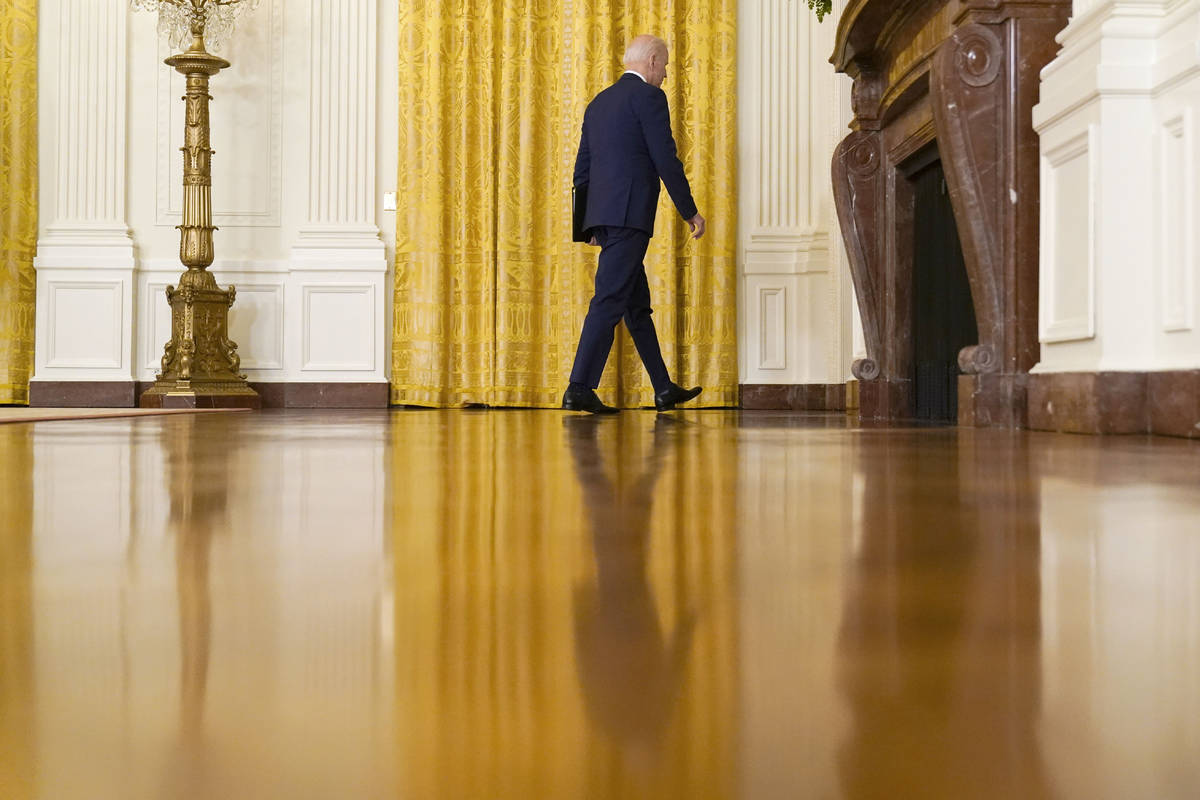President Joe Biden leaves after speaking about Russia in the East Room of the White House, Thu ...