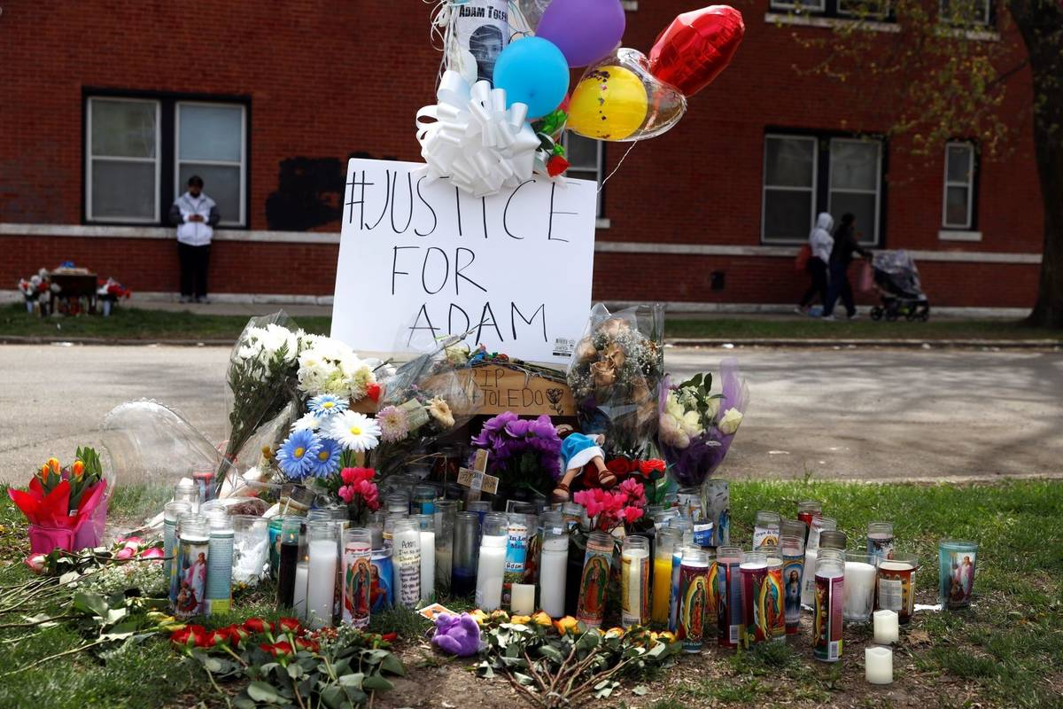 A memorial near the spot where 13-year-old Adam Toledo was shot by a police officer in Chicago' ...
