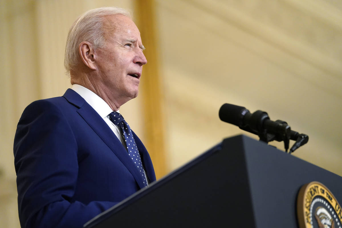 President Joe Biden speaks about Russia in the East Room of the White House, Thursday, April 15 ...