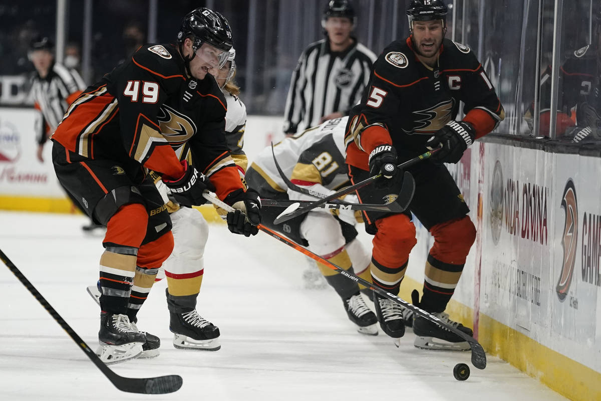 Anaheim Ducks left wing Max Jones (49) takes control of the puck during the second period of an ...