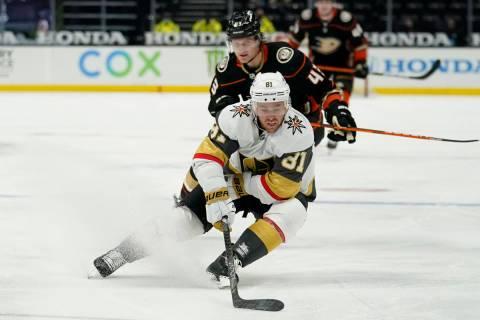 Vegas Golden Knights center Jonathan Marchessault (81) controls the puck ahead of Anaheim Ducks ...