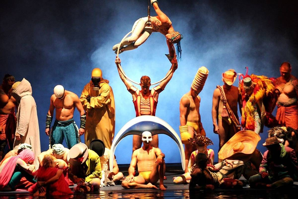 """The cast of Cirque du Soleil's """"0"""" perform during a 10th anniversary show at the Bellagio hotel ..."""