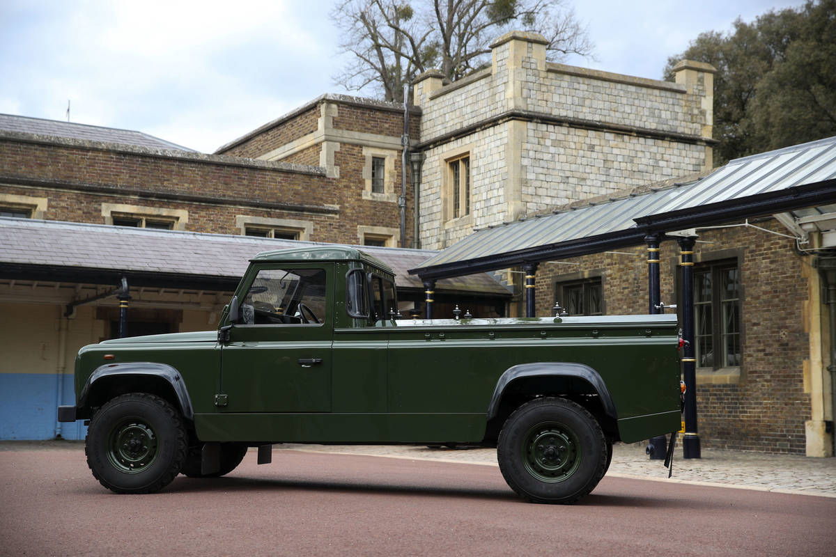 The Jaguar Land Rover that will be used to transport the coffin of the Duke of Edinburgh at his ...