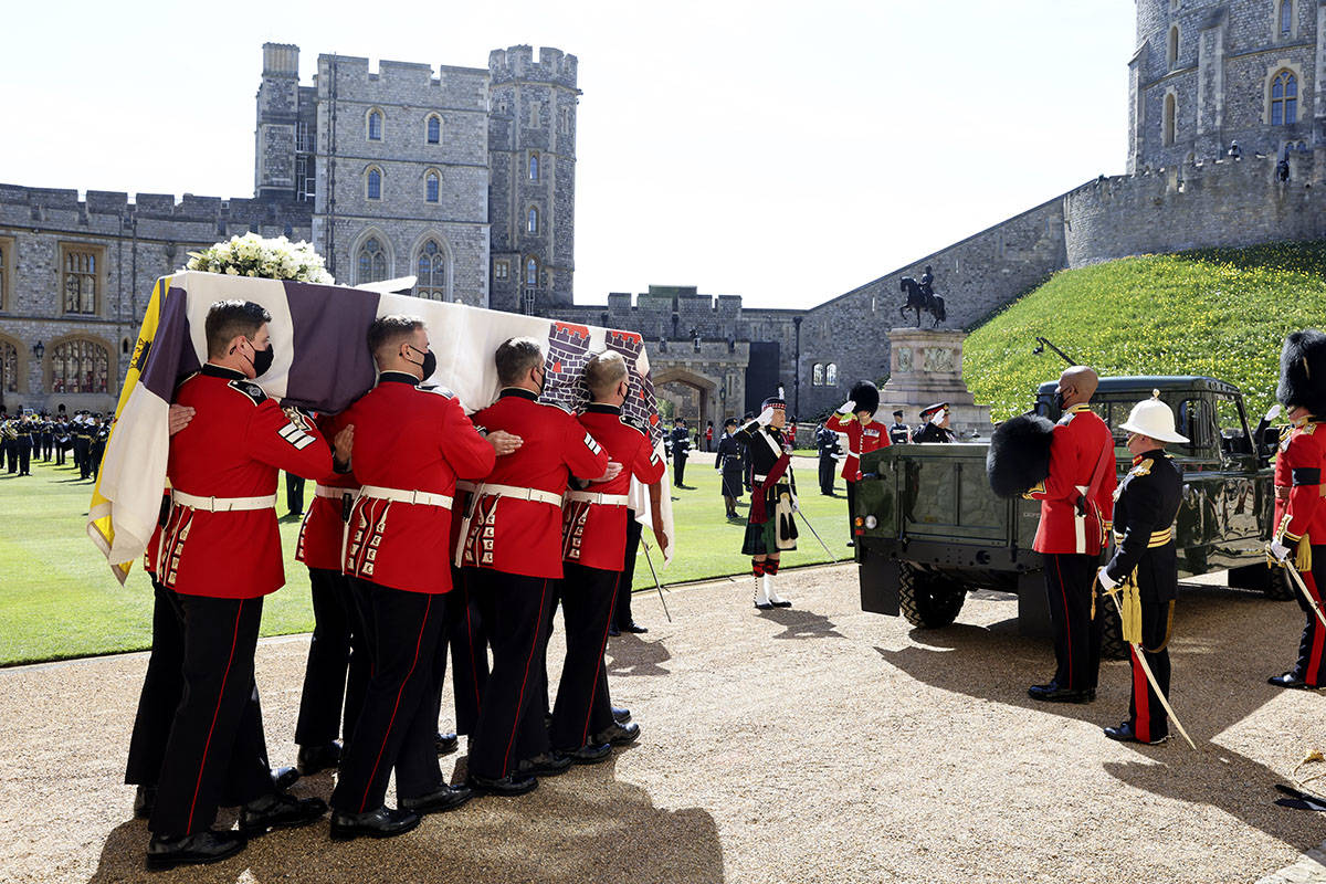The Queen's Company, 1st Battalion Grenadier Guards carry the coffin of Prince Philip during th ...