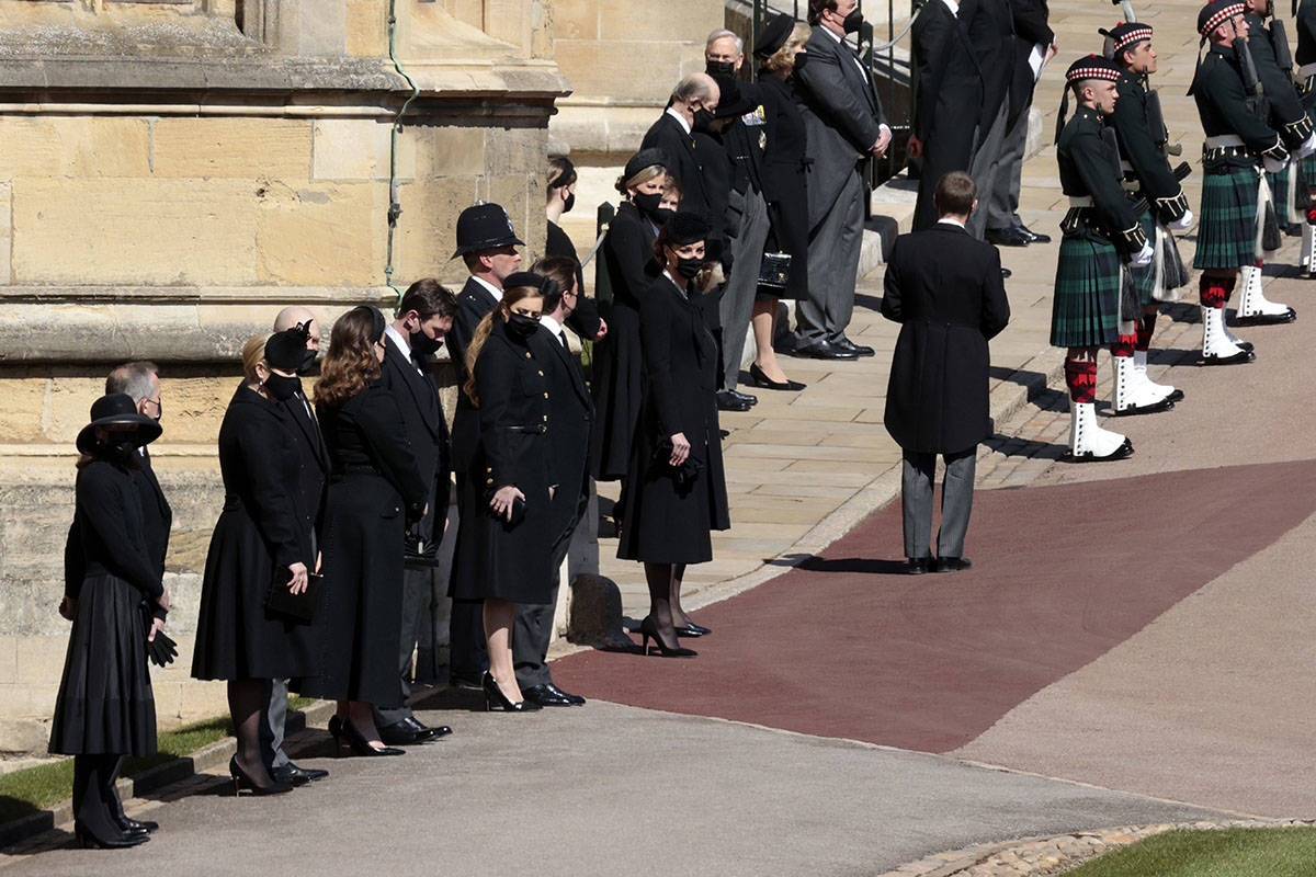 Members of the Royal family stand at the Windsor Castle during the funeral of Britain's Prince ...