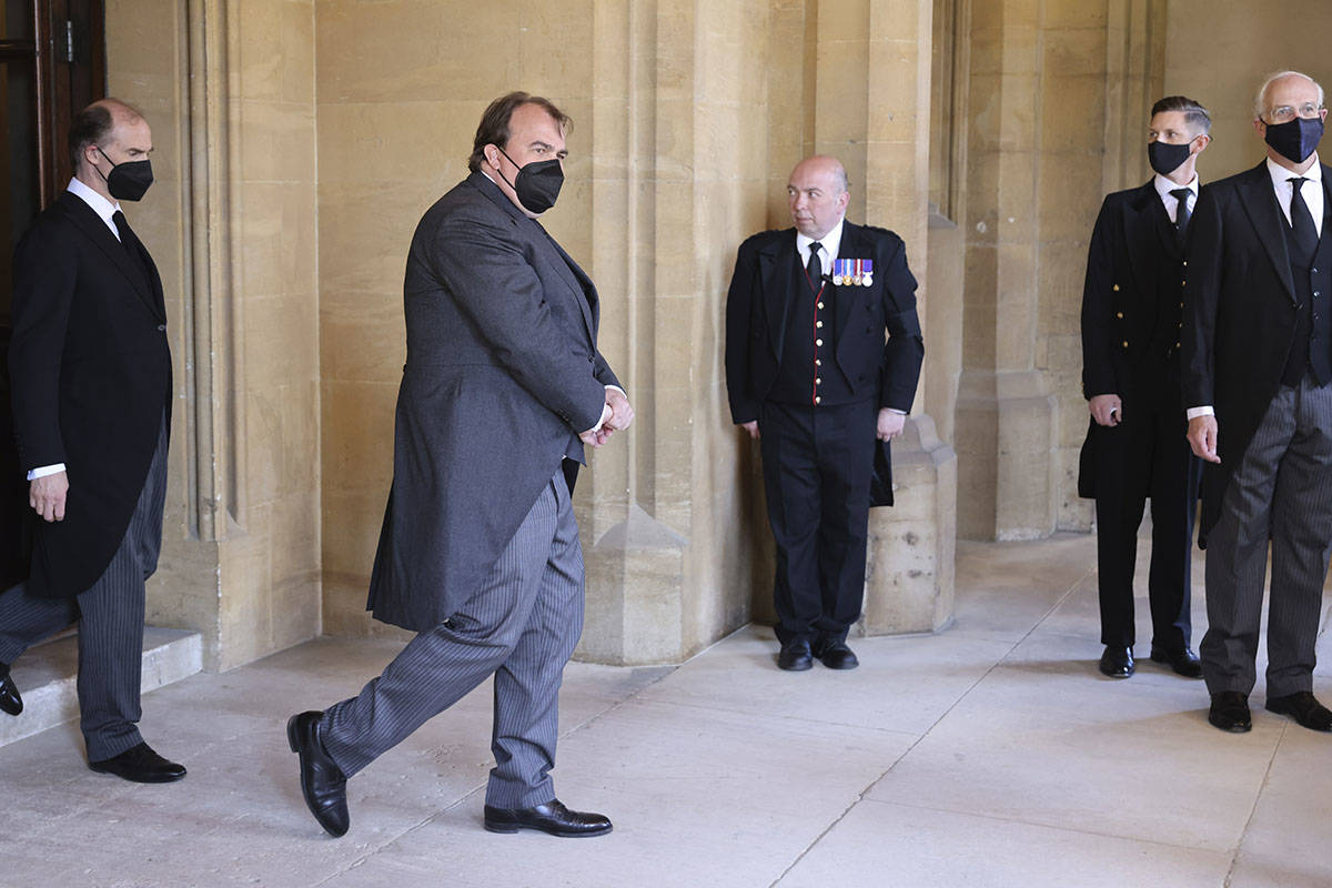 Philipp, Prince of Hohenlohe-Langenburg, second left, attends the funeral of Britain's Prince P ...