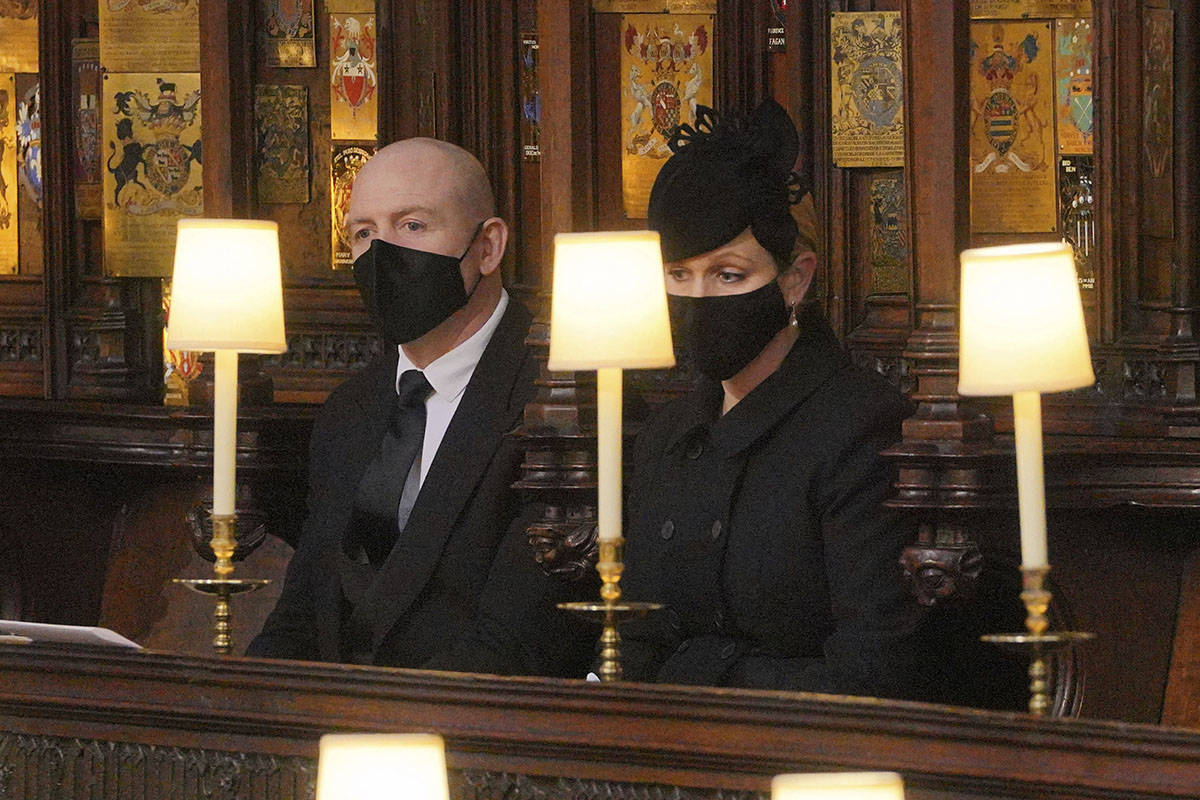 Mike and Zara Tindall during the funeral of Prince Philip, at St George's Chapel in Windsor Cas ...